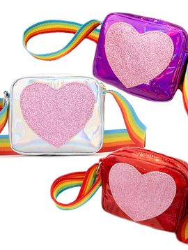 Survolte Rainbow Shimmer Heart Crossbody Bag