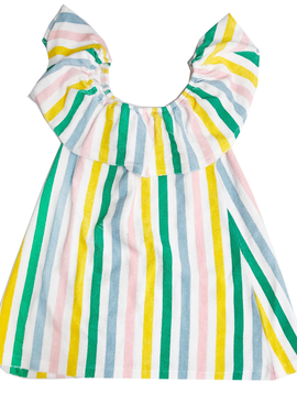 4fa019d45bc3 Hugo Loves Tiki Terry Ruffle Dress - Pastel Stripes - Hugo Loves Tiki