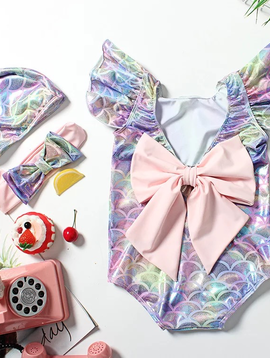 Sugar Bear Mermaid Swimsuit with Bow