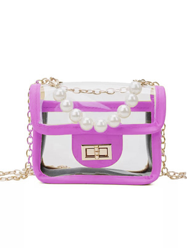 Survolte Transparent Purse with Pearls