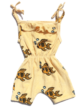 Hugo Loves Tiki Terry Ruffle Playsuit - Yellow Fish - Hugo Loves Tiki