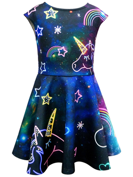 Sara Sara Hannah Banana Unicorn Print Dress