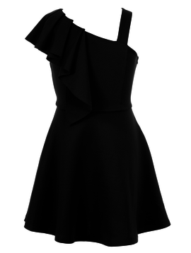 Sara Sara Asymmetric Shoulder Dress - Hannah Banana Black Label