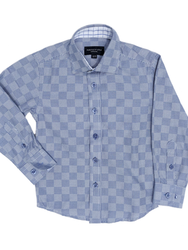 Leo & Zachary Dress Shirt - Blue Houndstooth Box - Leo and Zachary