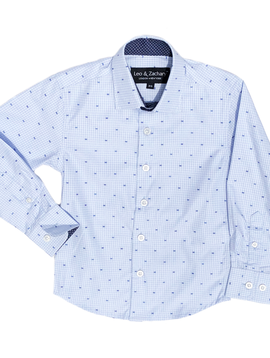 Leo & Zachary Dress Shirt - Light Blue Navy Dot - Leo and Zachary