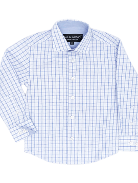 Leo & Zachary Dress Shirt - Blue Window Pane - Leo and Zachary
