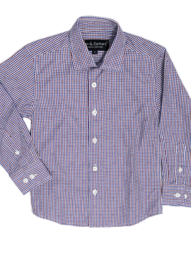Leo & Zachary Dress Shirt - Wine Gingham Check - Leo and Zachary