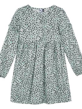 3pommes & B-Karo Mint Leopard Viscose Dress - 3Pommes Kids
