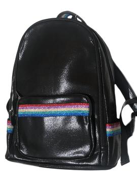 Bari Lynn Black Shimmer w Rainbow Stripe Backpack - Bari Lynn Accessories