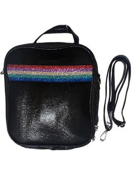 Bari Lynn Black Shimmer w Rainbow Stripe Lunch Tote - Bari Lynn Accessories