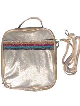 Bari Lynn Gold Shimmer w Rainbow Stripe Lunch Tote - Bari Lynn Accessories