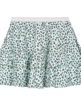 3pommes & B-Karo Mint Leopard Viscose Skirt - 3Pommes Kids