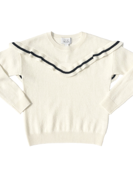 Autumn Cashmere Cream Ruffle Sweater - Autumn Cashmere Kids