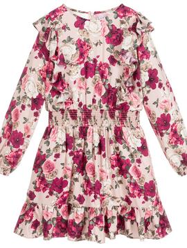 Mayoral Roses Viscose Ruffle Dress - Mayoral Girl Clothing