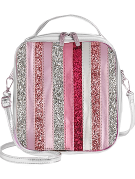 Bari Lynn Pink Glitter Stripe Lunch Tote - Bari Lynn Accessories