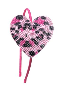 Bari Lynn Crystal Pink Leopard Heart Headband - Bari Lynn Accessories
