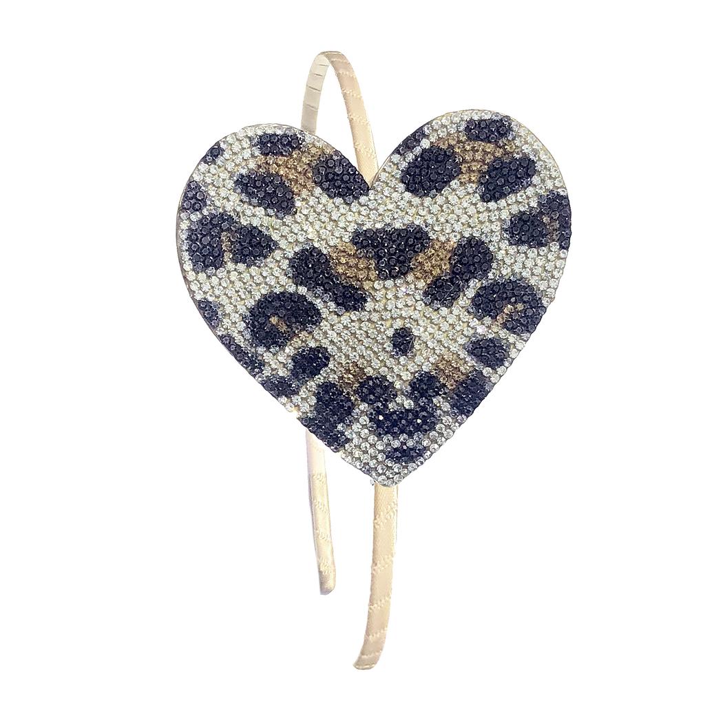 Bari Lynn Crystal Gold Leopard Heart Headband - Bari Lynn Accessories