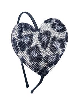 Bari Lynn Crystal Silver Leopard Heart Headband - Bari Lynn Accessories