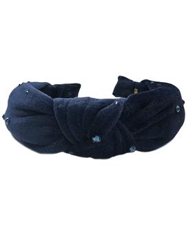 Bari Lynn Navy Velvet Knot Headband w Crystals - Bari Lynn Accessories