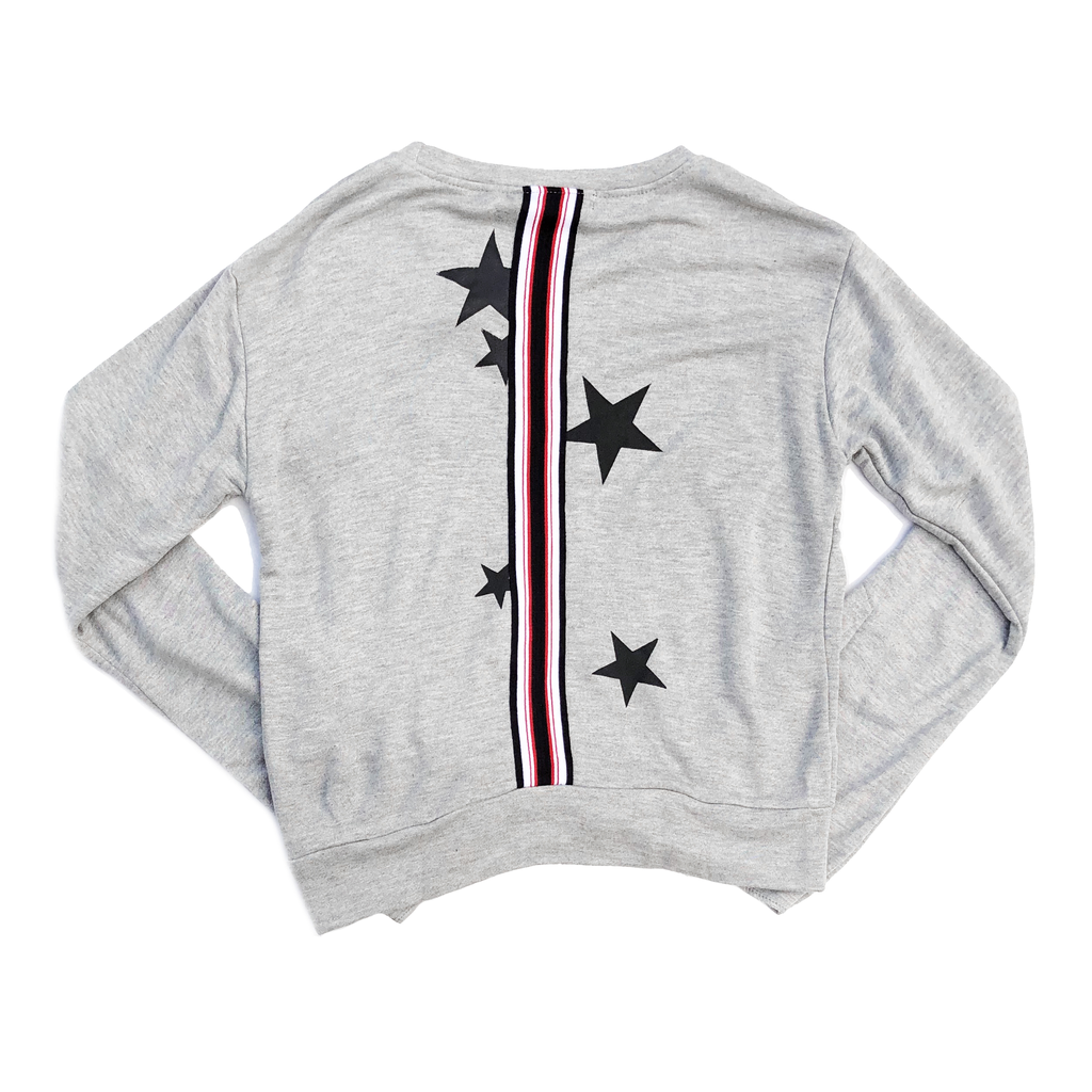 Global Love Grey Sweatshirt with Stars and Tape Trim on Back - Global Love