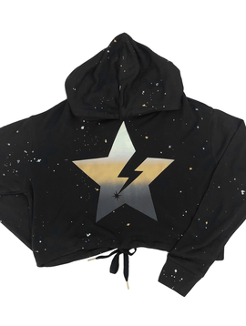 Global Love Black Crop Hoody with Metallic Star - Global Love