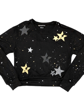 Global Love Black Crop Sweatshirt with Metallic Stars - Global Love