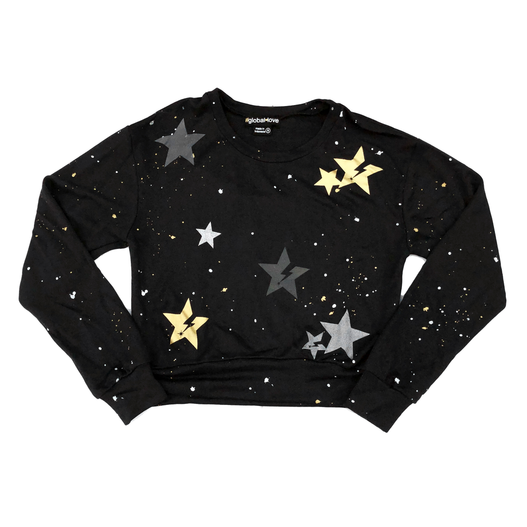 Global Love Black Crop Sweatshirt with Metallic Stars - Global Love