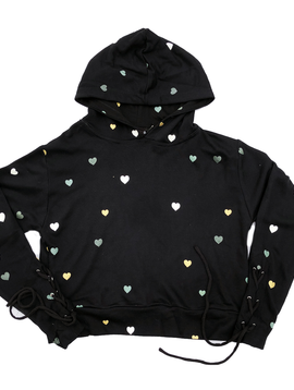 Global Love Black Hoody with Hearts - Global Love