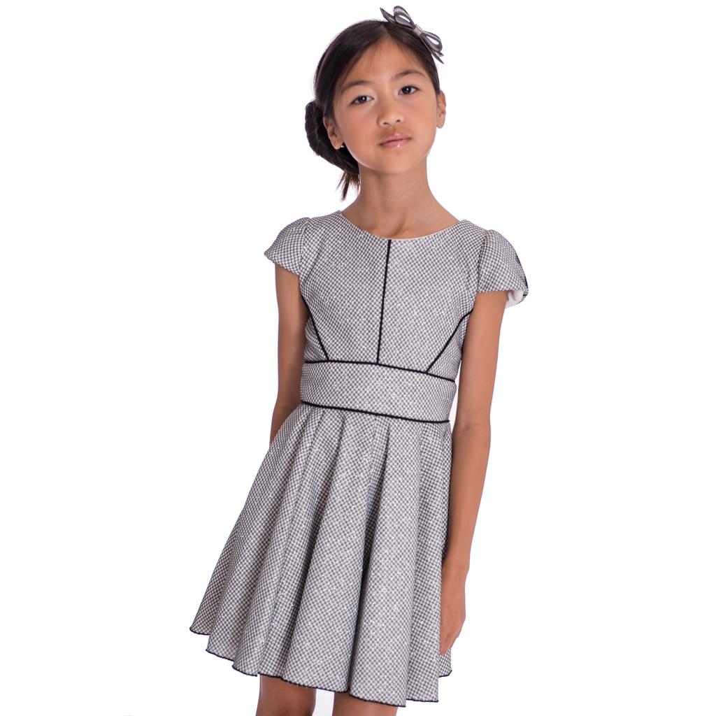 Zoe Ltd Perforated Metallic Knit Swing Dress - Zoe Ltd