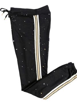 Global Love Black Sweatpant w Gold Stripe - Global Love