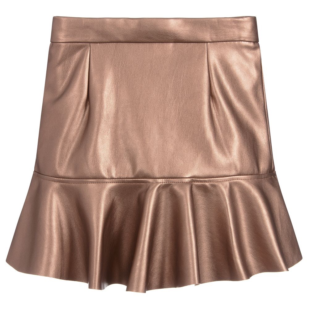 Mayoral Pink Copper Faux Leather Ruffle Skirt - Mayoral Girl Clothing