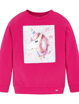 Mayoral Unicorn Reversible Sequin Sweatshirt - Fuchsia - Mayoral Girl Clothing
