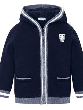 Mayoral Hooded Zip up Plush Knit Sweater Jacket - Mayoral Boy Clothing