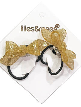 Lilies and Roses Ponytail - Glitter Bows - Gold