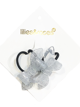 Lilies and Roses Ponytail - Glitter Silver Bows - Lilies and Roses