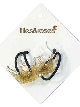 Lilies and Roses Ponytail - Gold Glitter Crown - Lilies and Roses