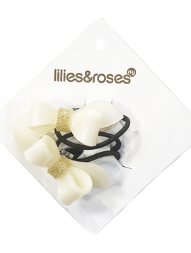 Lilies and Roses Ponytail - Pearlized Gold Glitter Bow - Lilies and Roses
