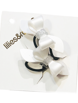 Lilies and Roses Ponytail - Pearl Silver Glitter Bows - Lilies and Roses