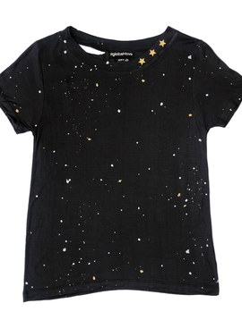 Global Love Distressed Paint Splatter Tee w Stars - Global Love