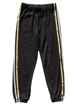 Flowers by Zoe Black Sweatpants w Gold Silver Stripe - Flowers By Zoe