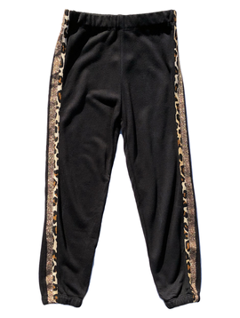 Flowers by Zoe Sweatpants w Leopard Trim - Flowers By Zoe