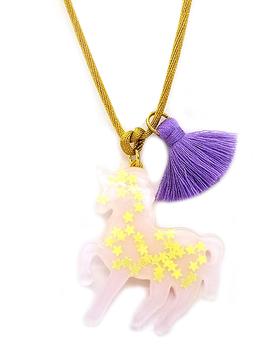 Bottleblond Bottleblond Lavender Sparkly Unicorn Necklace