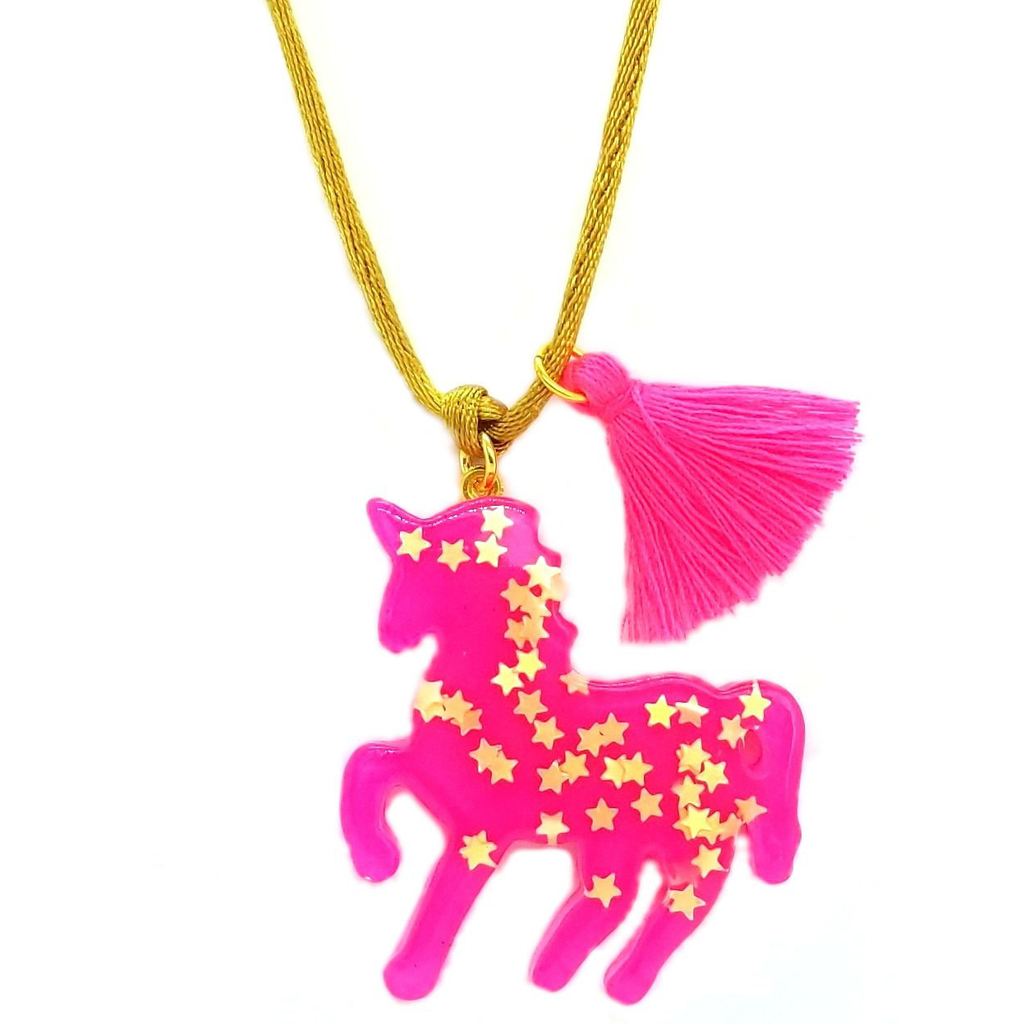 Bottleblond Hot Pink Sparkly Unicorn Pendant - Bottleblond Kids Jewelry