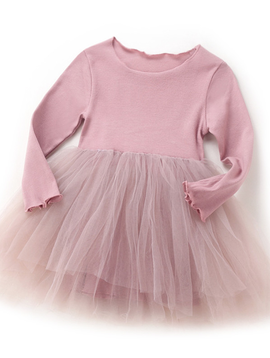 Survolte Pink Long Sleeve Tulle Dress