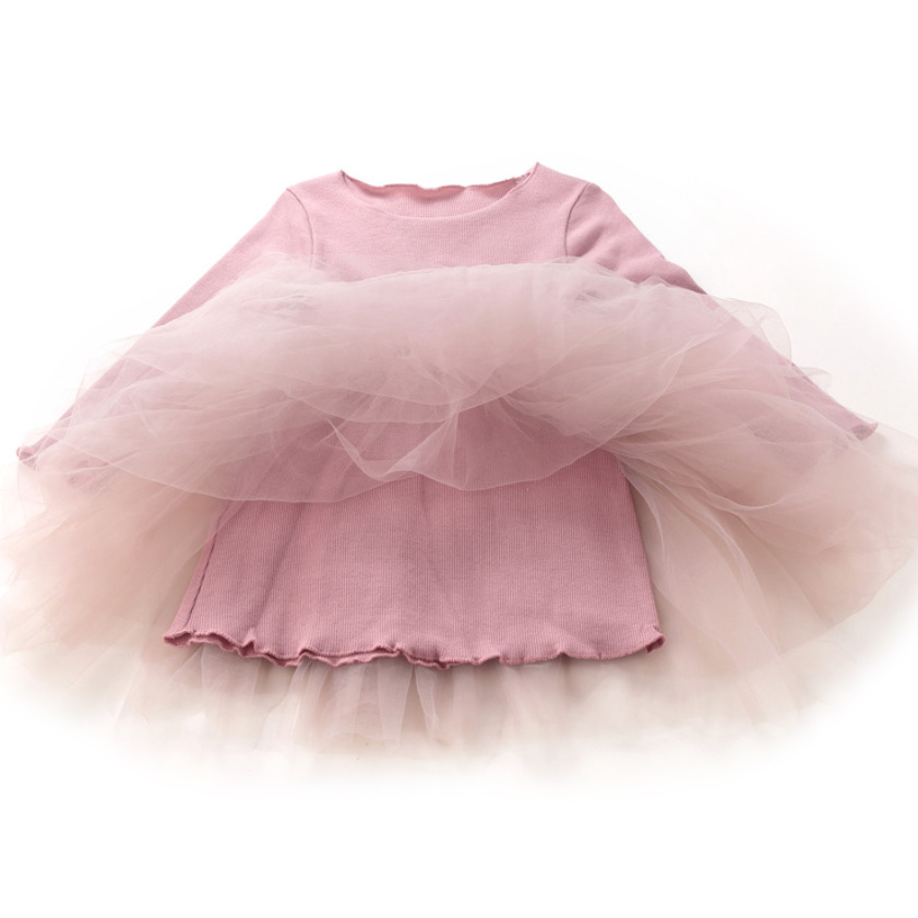 Survolte Pink Long Sleeve Tulle Dress