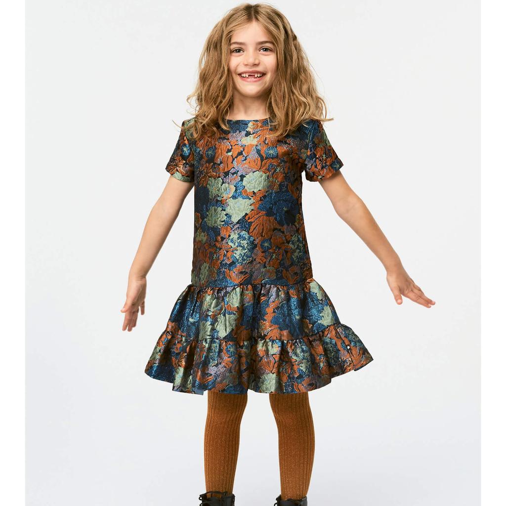 molo Glitter Ribbed Tights - Autumn Leaf - Molo Kids Clothing