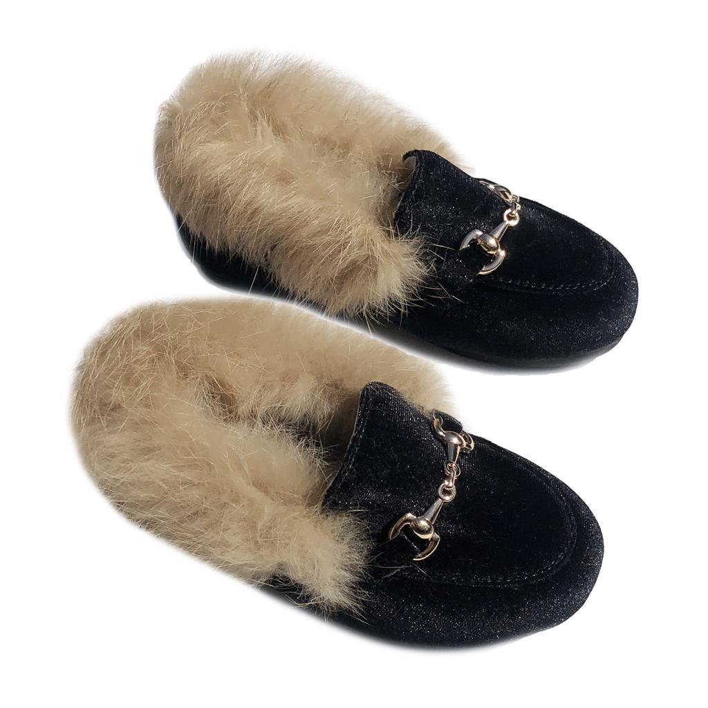 Survolte Fur Trim Black Velvet Loafers