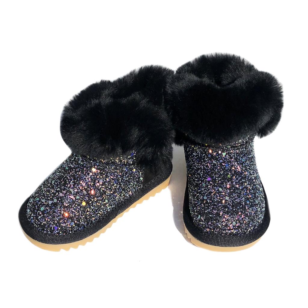 Survolte Iridescent Glitter Black Fur Boots