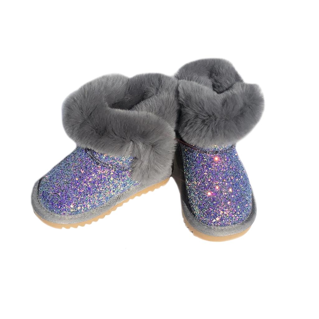 Survolte Iridescent Glitter Grey Fur Boots