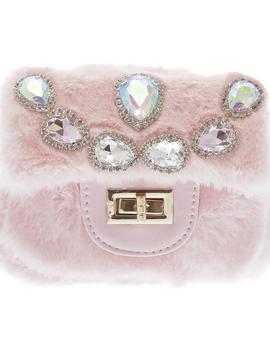 Doe a Dear Mini Faux Fur Cross body w/ Teardrop Jeweled Purse - Doe a Dear